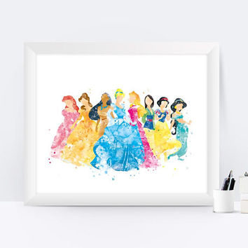 Disney princesses Art Print Cinderella Print Ariel Print Snow White Jasmine Print Wall Art Disney Princess Gift Nursery Wall decor
