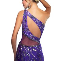 Mac Duggal Radiant One Shoulder Svelte Silhouette Beaded Eve Gown Dress