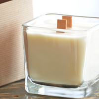 Crackling Firewood Soy Candle 12 oz. Cube Jar Wood Wicks - firewood vanilla scented soy candle crackling wood wicks