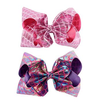 2Pcs/lot Women Girl Big Leather Hair Bow With Alligator Clips Fashion Bling Mermaid Hair Clip Hair Accessories
