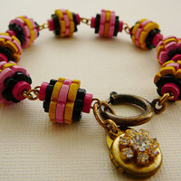 Wood Locket Bracelet Beads Baby Pink fuschia Yellow by DiBAjewelry