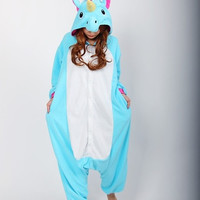 Cosplay Romper Charactor animal Hooded PJS Pajamas Xmas gift Adult Costume sloth outfit Sleepwear—Blue Unicorn = 1931524356