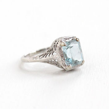 Antique 14k White Gold Art Deco Aquamarine Ring - Size 6 1/2 Filigree 1920s Icy Blue 1 Carat + Gemstone Fine Jewelry