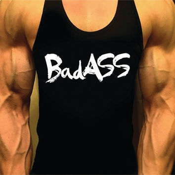 Badass. Mens Workout Tank Top. Fitness Tank. Racerback Tank. Muscle Tank. Mens Fitness. Gym Tank Top. Workout Shirt. Fitness Apparel