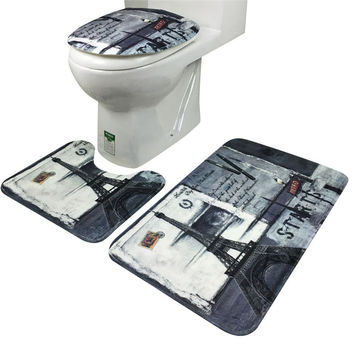 3Pcs/set Bathroom Non-Slip Eiffel Tower Style Pedestal Rug + Lid Toilet Cover + Bath Mat decor carpet pad drop shpping sale
