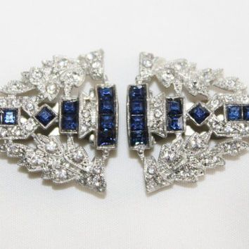 Art Deco Dress Fur Clip, Paste Rhinestone Blue, Deco Scarf Clip, 1920s  Art Deco Jewelry