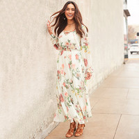 Belle + Sky Long Sleeve Lace Up Maxi Dress - JCPenney