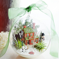 "Meet me at the Coffee House Terrarium ~ Holiday Coffee House with Snowman ~ Airplants -  7"" Glass Globe ~ Gift idea ~ Christmas Decor"