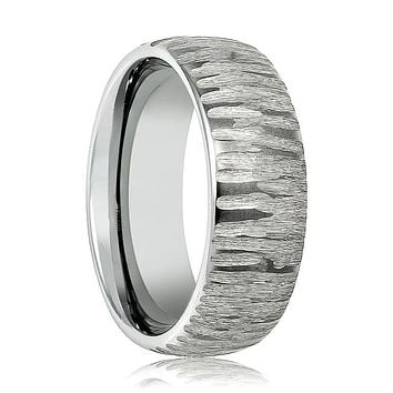 Aydins Mens Tungsten Wedding Band Tree Bark Carved Textured Finish 8mm Tungsten Carbide Ring