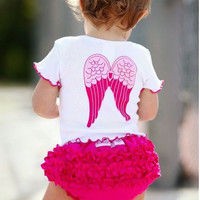 2015 New arrival baby clothes sets cute girl wing tops+shorts 2 pcs suit summer infant suit Free Shipping