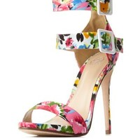 Double Ankle Strap Floral Print Heels