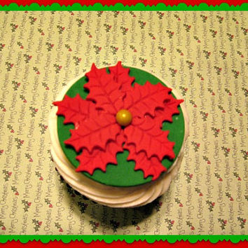 Bright Red Poinsettias on a dark Green Background, Fondant Cupcake Toppers. set of 12 (1 dozen)
