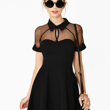 Black Chiffon Short Sleeve Pointed Flat Collar Mini Skater Dress with Mesh Accent