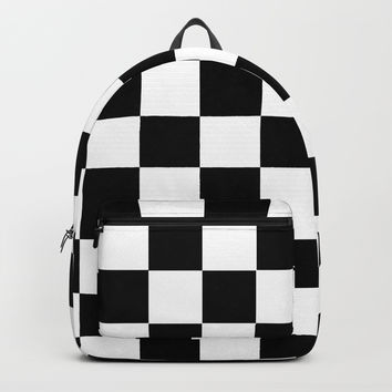 Black White Checker Backpack by deluxephotos