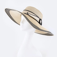 CONTRAST BAND & BUCKLE STATEMENT STRAW HAT