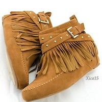 Women's Ankle Fringe Moccasin Boots Studded Zip Up Booties With Hidden Wedge New