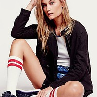 Free People Womens Double Cloth Zip Up Jacket