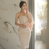 Classic summer elegant style party night club dinner ball dating office ceremony tight slim one shoulder pink dress