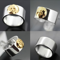 925 Sterling Silver Indian Golden Eagle Symbol Ring Men's Jewelry