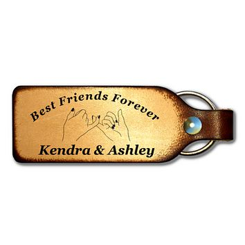 Pinky Promise Best Friend Personalized Leather Keychain