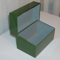 Green Office Tin File Box