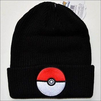 Pokemon Go Pokeball Cosplay Roll Slouch Cuff Knit Beanie Cap Hat Black OFFICIAL