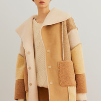 Oversized Patchwork Faux Fur Coat