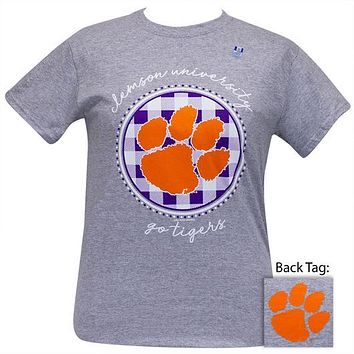 South Carolina Clemson Tigers Buffalo Plaid Logo Sports Grey T-Shirt