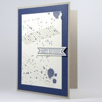 Navy Blue Happy Birthday Gorgeous Grunge Style Handmade Card | cardsbylibe - Cards on ArtFire