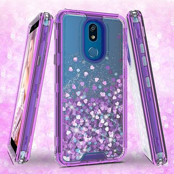 LG K40/Xpression Plus 2/K12 Plus/X4 2019/Harmony 3/LG Solo Case,Hard Clear Glitter Sparkle Flowing Liquid Heavy Duty Shockproof Three Layer Protective Bling Girls Women Cover - Purple