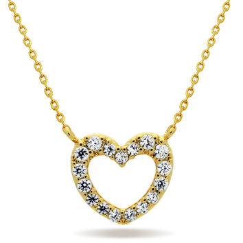 Tiny Heart Necklace,14K Gold Plated Floating Heart Necklace, Simple Heart Necklace