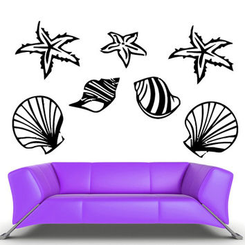 rvz709 Wall Vinyl Sticker Bedroom Sea Ocean Star Shell