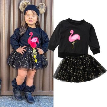 Boutique Kids Baby Girl Flamingo Tops Sweatshirt Tulle Tutu Dress Outfit Clothes