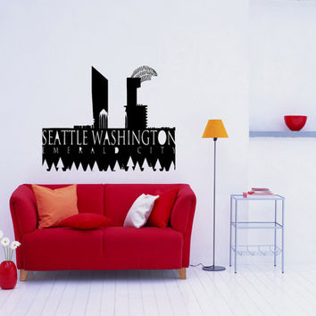 Seattle Skyline City Sights Wall Sticker Decal 2422