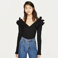 T-SHIRT WITH SHOULDER FRILL DETAILS