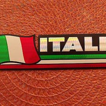 Italia Italy Flag Reflective Sticker, Coated Finish, Side-Kick Decal 12x2/12