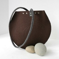 Chocolate Brown and Gray Round Wool Felt Purse by fuzzylogicfelt