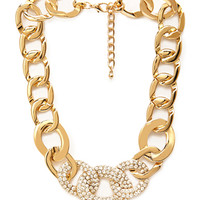 FOREVER 21 Rhinestoned Chain Necklace Gold One