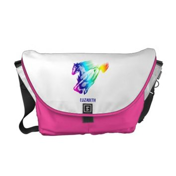 Running Rainbow Horse With Motion Trail Courier Bag