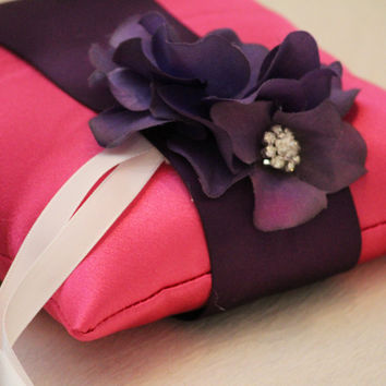 Hot Pink Pillow Wedding Ring for Dogs, Purple Flower on Hot Pink Pillow with Rhienstone, Wedding Dog Accessory, Ring Bearer Pillow