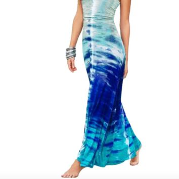 Bohemian Blue Tie-Dye Maxi Dress