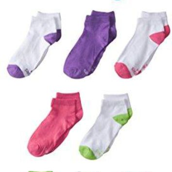 Hanes Girls' 10 Pack Low Cut Socks, White/Assorted Colors,  Shoe Size, 6-10 1/2