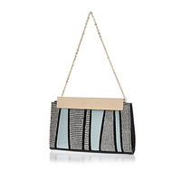 River Island Womens Blue snake print stripe frame clutch bag