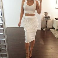 Crop Top with Knee-length Skirt Two Pieces Dress Suit