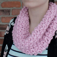 Hand Knit Infinity Cowl Scarf - Blossom Pink - Light Pink - Fall Fashion - Winter Accessories