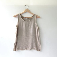 vintage taupe tank top. knit tank top. slinky crop top