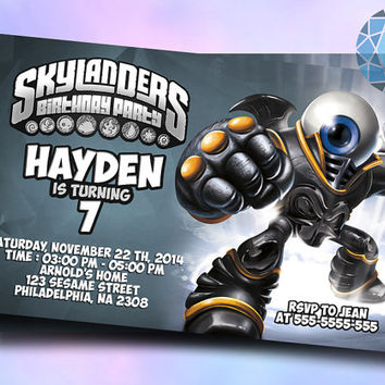 Skylanders eye brawl Design For Birthday Invitation on SaphireInvitations