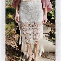 COSTA RICA CROCHET SKIRT- WHT