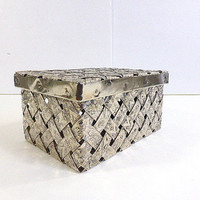 Vintage Silver Plate Woven Basket Weave Box with Cover 6 inches x 4 1/4 inches x 3 inches Trinket Box Traditional Decor Industrial Art Deco