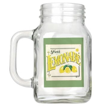 Vintage fresh lemonade sign mason jar glass